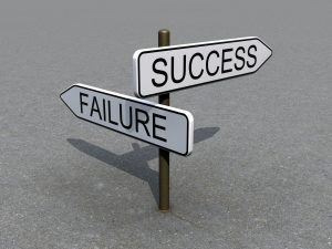 A sign showing two arrows pointing in a different direction with the word success on one and failure on the other. Depicts our choices we make about church management systems, either ends in failure or success.