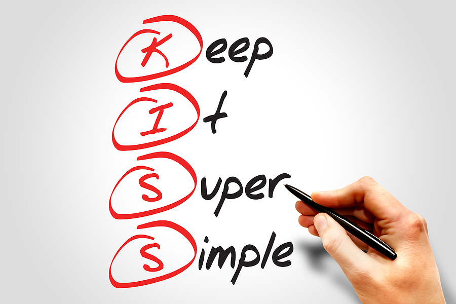 Church software selection should use the KISS principle which this picture shows - a whiteboard that says the words 'Keep it super simple'.