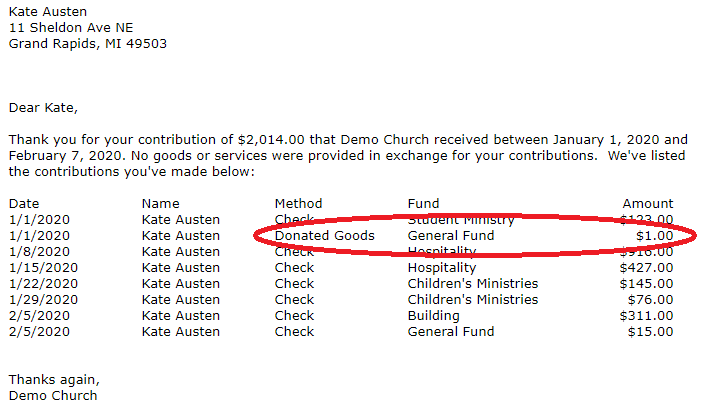 Breeze church management software contribution statement output showing a dollar amount and no description for their non cash donations. The red oval shows the offending entry.
