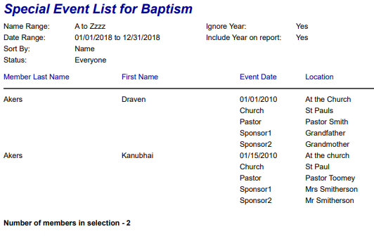 IconCMO pdf style report for baptism dates nicely formatted.