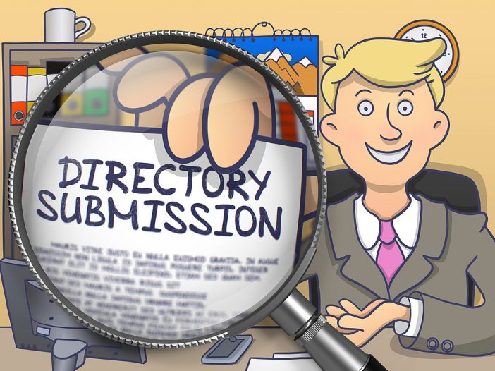 Church directory software submission cartoon with a magnifying glass.