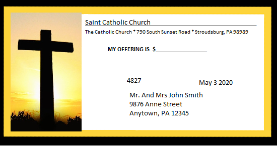 Church budget envelope example with unique number, donor name and address, and the name of the church and its address. It also has a picture of the religious cross.