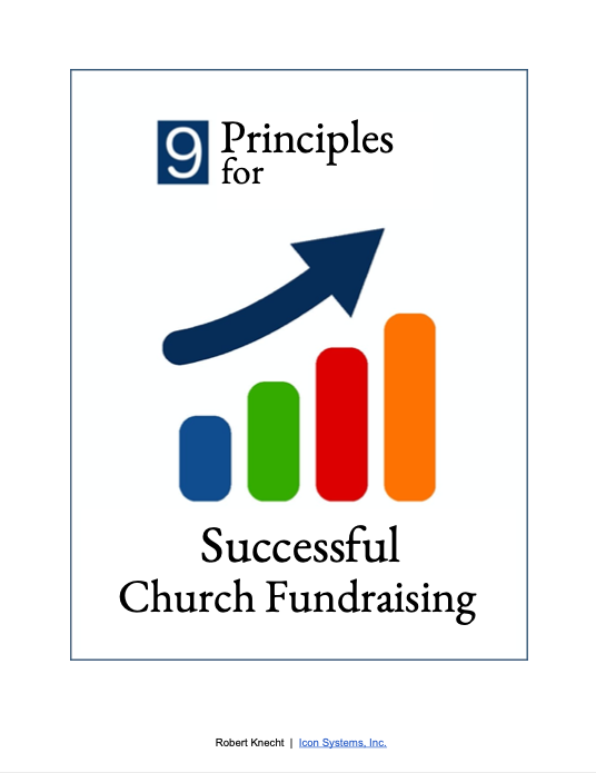 Image showing increasing graph that says 9 principles for successful church fundraising.