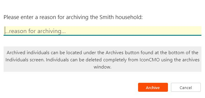 IconCMO church management software archiving household pop up message asking reason for archiving