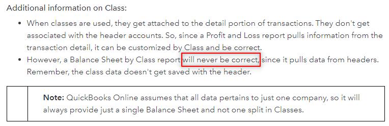 Quickbooks faq screenshot showsthe reasons they can't do a balance sheet properly.