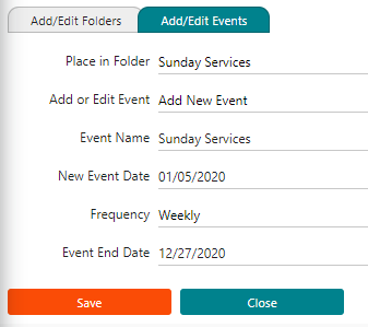 The adding event screen for IconCMO. It shows the fields that need to be filled out.