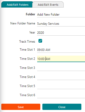 Image showing church attendance set up for the folders with time slots, fiscal year, and folder name.
