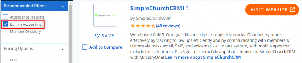 Screen capture showing Capterra church software review website and its incorrect information.