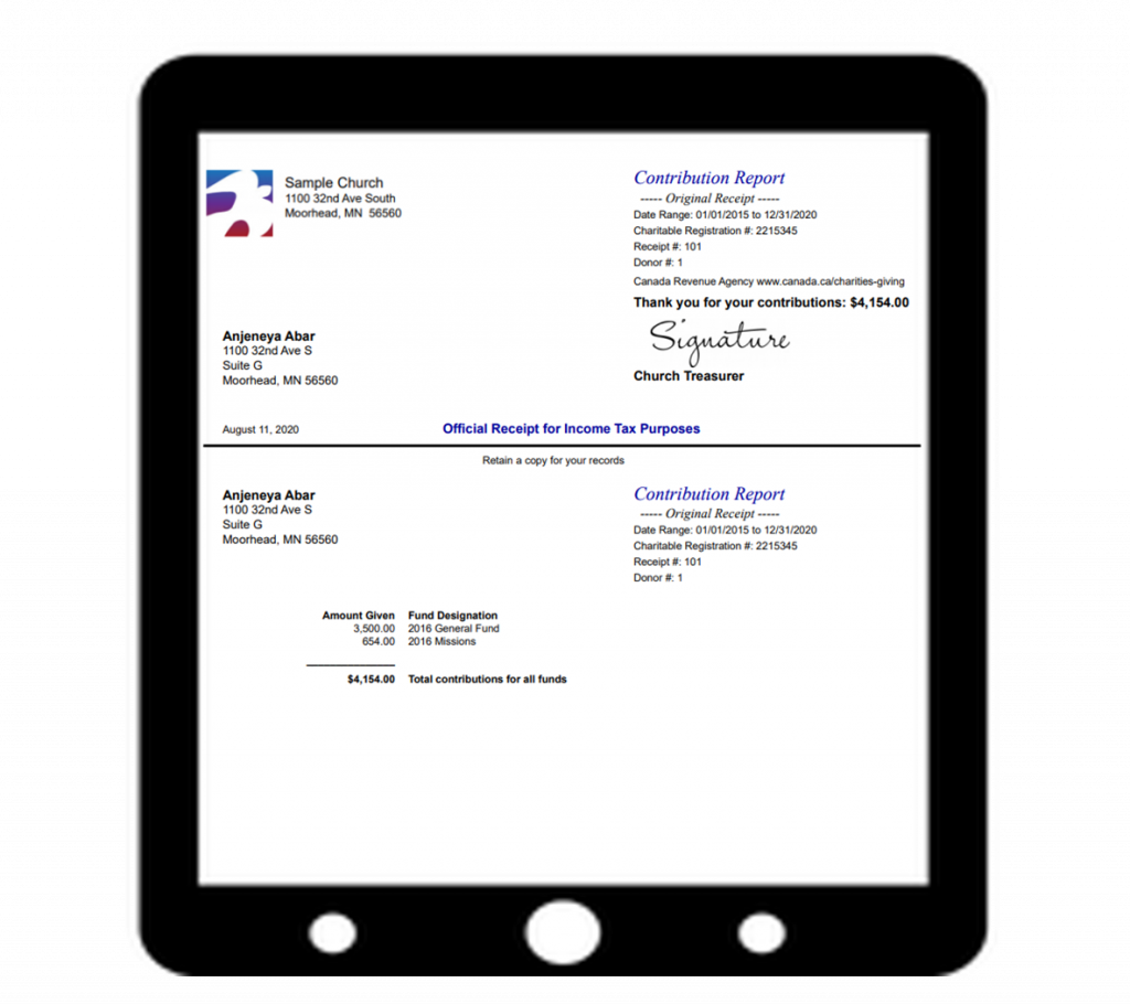 Canadian Revenue Agency (CRA) compliant donation receipt from IconCMO church management software