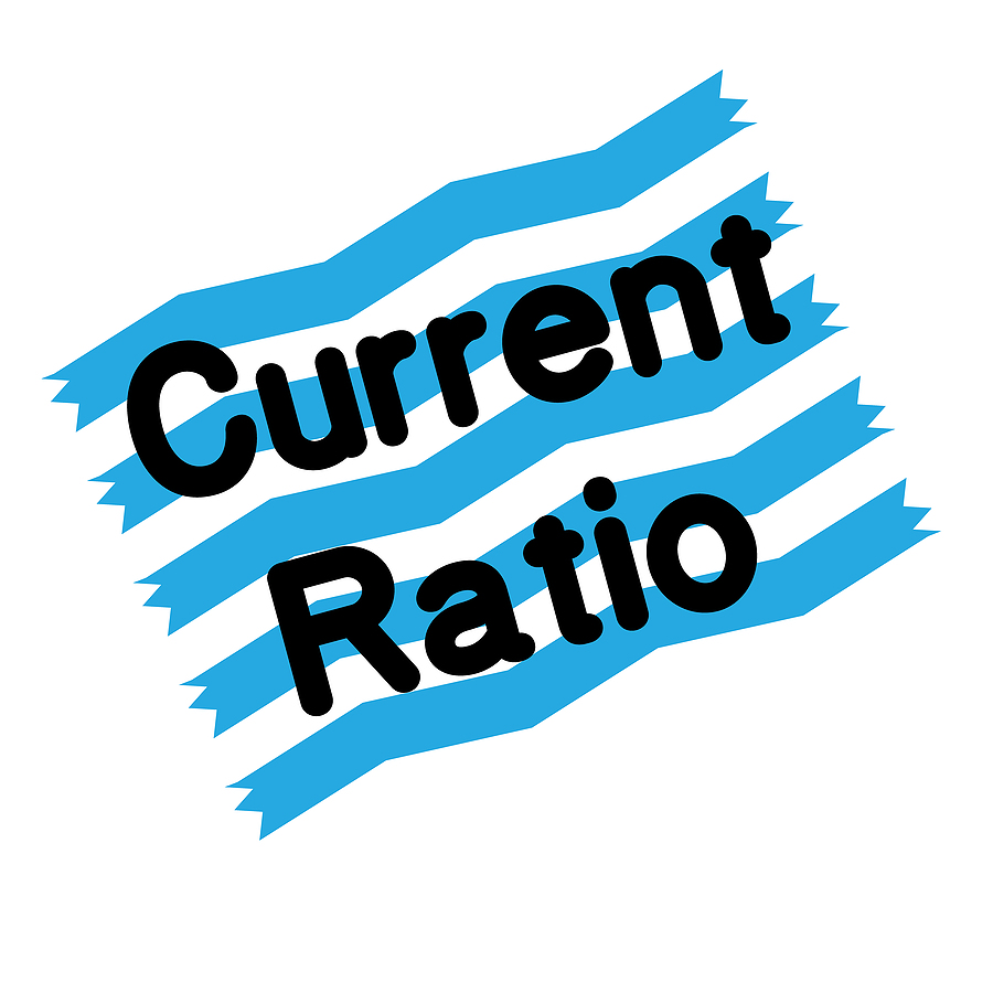 Current ratio stamp on white background. Sign label sticker.