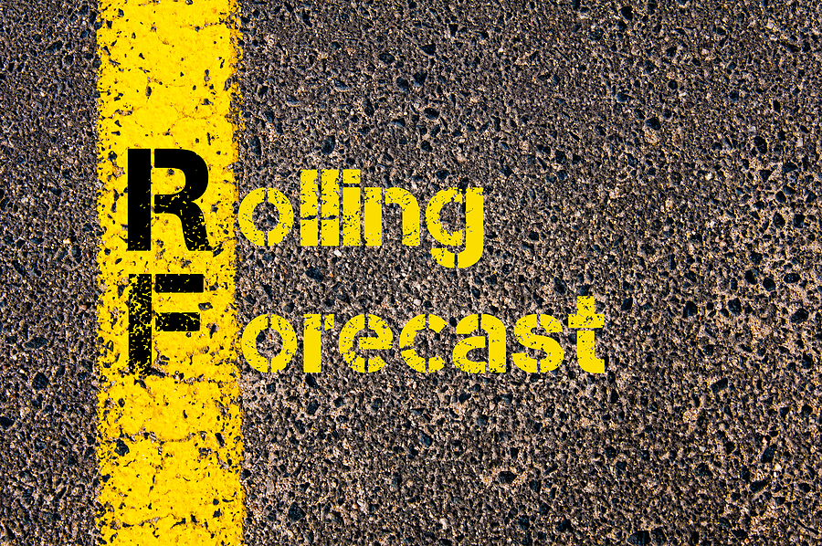 Shows the words rolling forecast in yellow street paint.