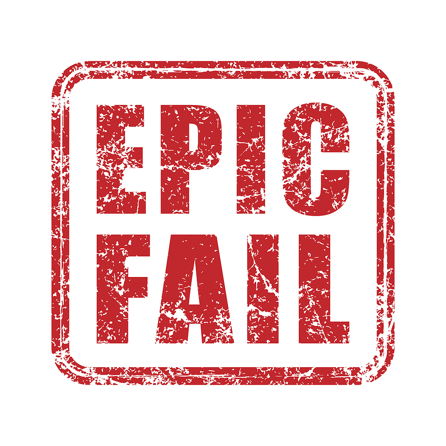 Epic fail grunge style rubber stamp icon. Red vintage failure meme seal label. Mistake sticker sign. Isolated on white background. Vector illustration image.