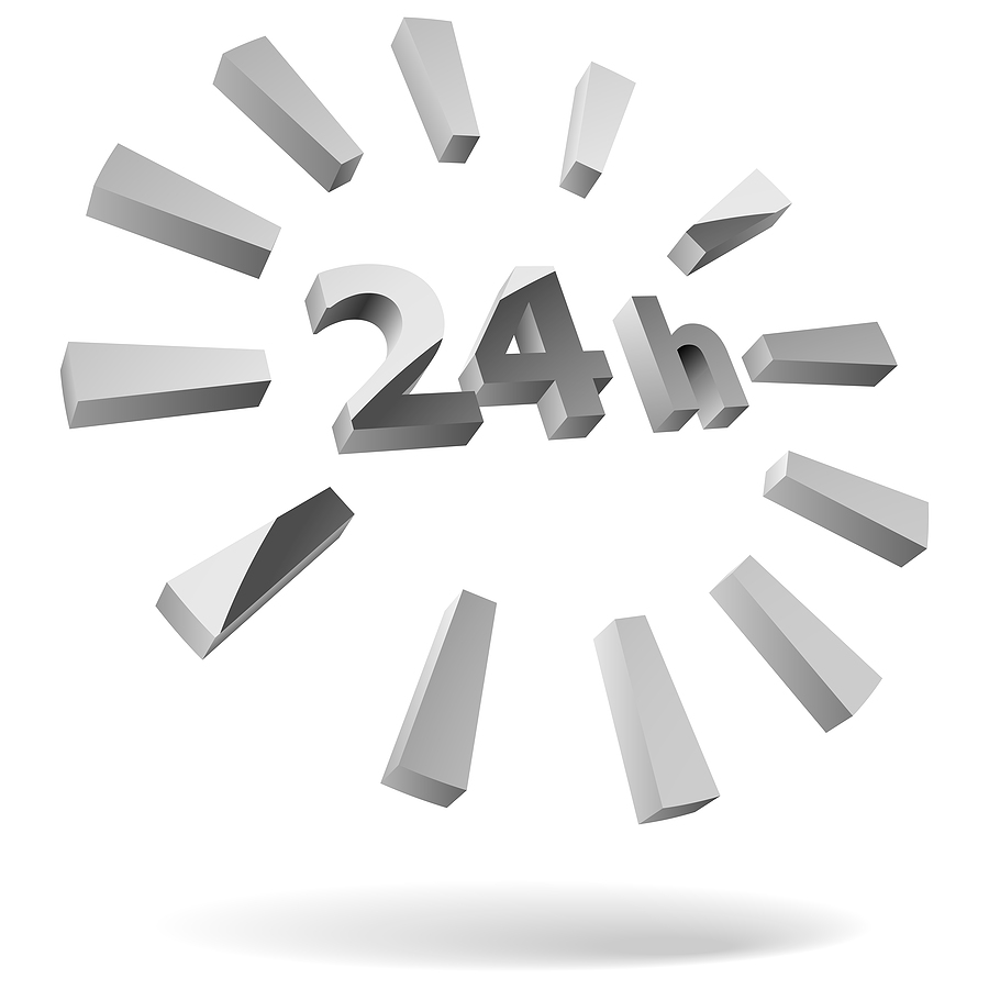 Software accessibility. 24 hours steel 3D icon isolated on white.