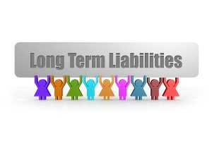 Long term liabilities sign being held up by multi color human 3d figures.