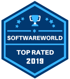 Software World top rated 2019 badge for their church software review.