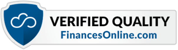 Finances Online blue shield with gray banner.