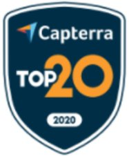 Capterra's top 20 2020 badge for church software review.