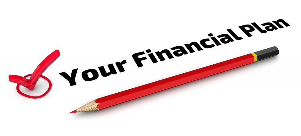 """Text with the words """"Your Financial Plan"""" along with a red pencil under the words and a red check mark to the left of the words illustrating how churches should be managing church finances."""
