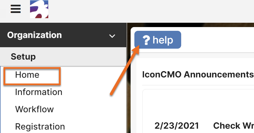 The help button on our home screen brings you into the IconCMO self training hub.