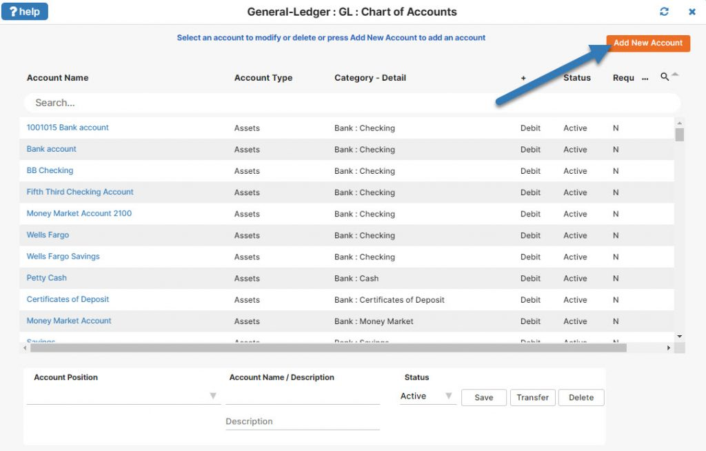 Adding an Account into IconCMO Church Software Chart of Accounts