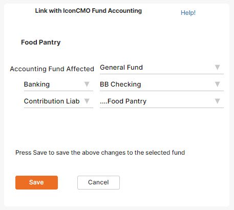 Linking Pass Through Account to Fund Accounting in IconCMO Church Management Software