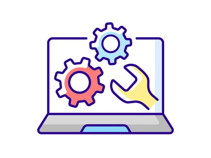Shows a cartoonish drawn on white background with a laptop and on the screen with gears and a wrench.