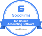Goodfirms top church accounting software badge which is blue and white in color.