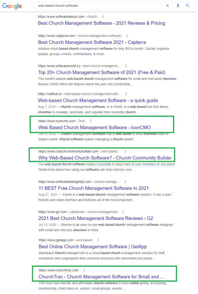 Church software google search result listing showing that only a couple church software companies show