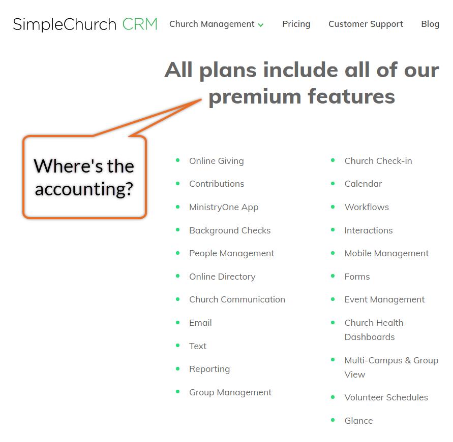 SimpleCRM church software feature list.
