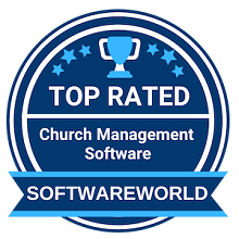 Softwareworld badge for 2021 with a blue main color and white lettering
